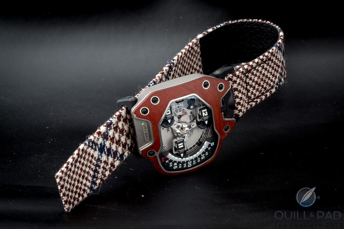 The UR-110 Eastwood looks eminently British with its Timothy Everest tweed strap