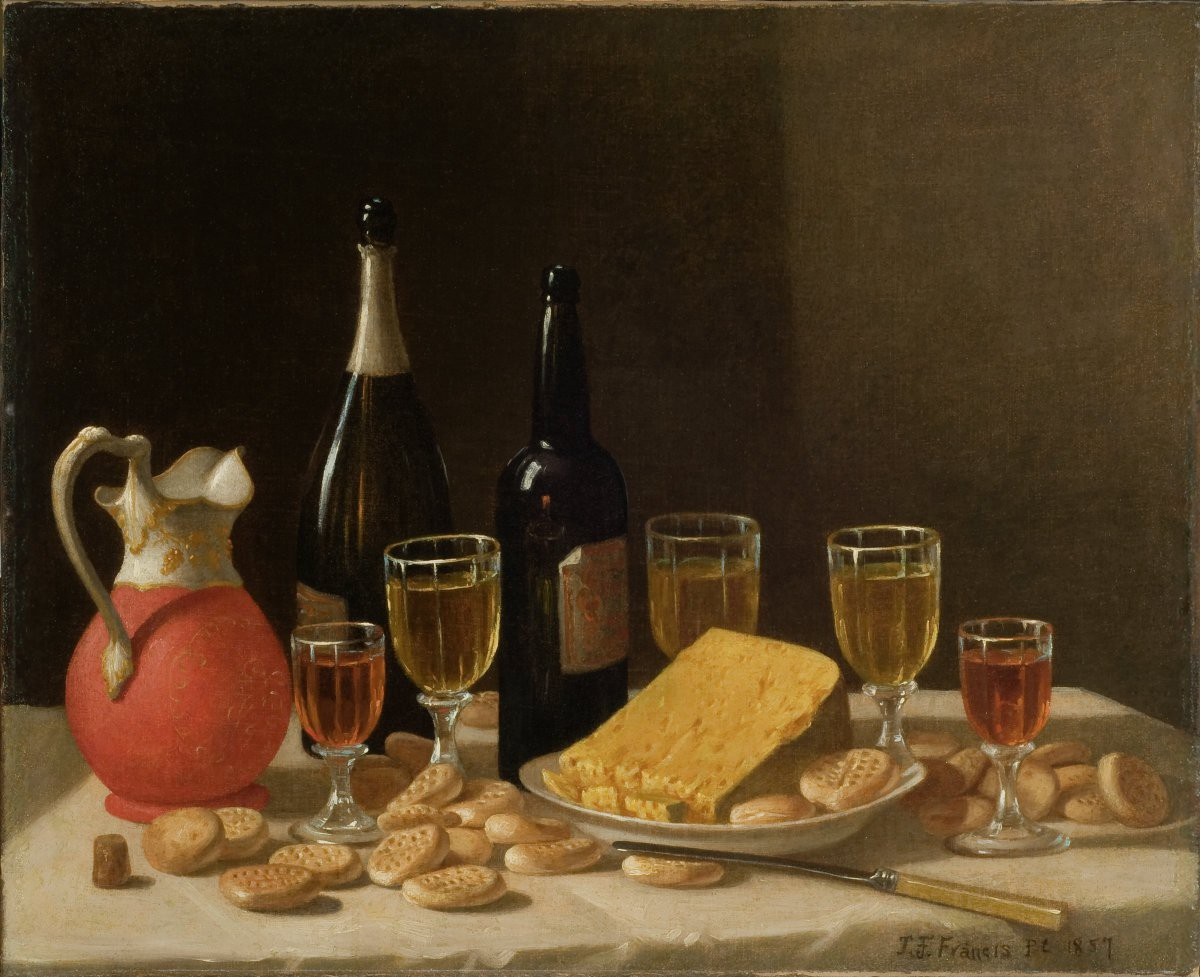 Still life painting of a tabletop with bottles and glasses of wine next to cheese and crackers.