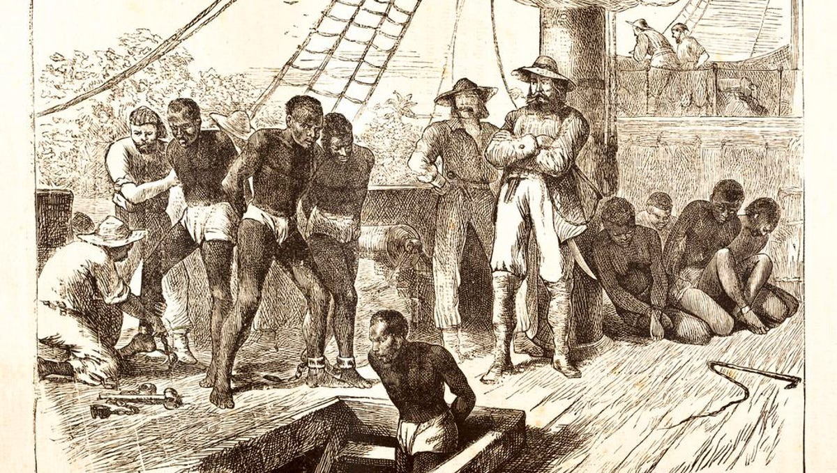 drawing—First slaves in English America being taken off the ship at Point Comfort in the Virginia Colony, 1619
