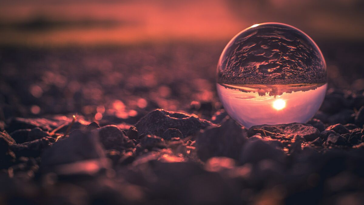 Glass ball image of sunset