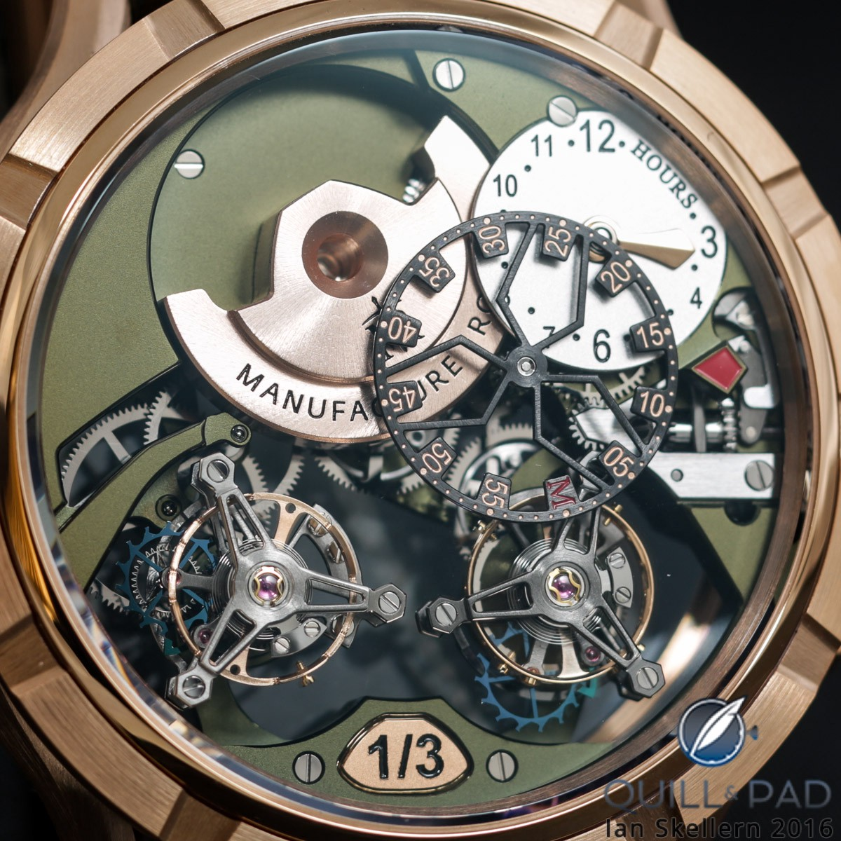 Manufacture Royale 1770 Micromégas Revolution in red gold with olive green movement
