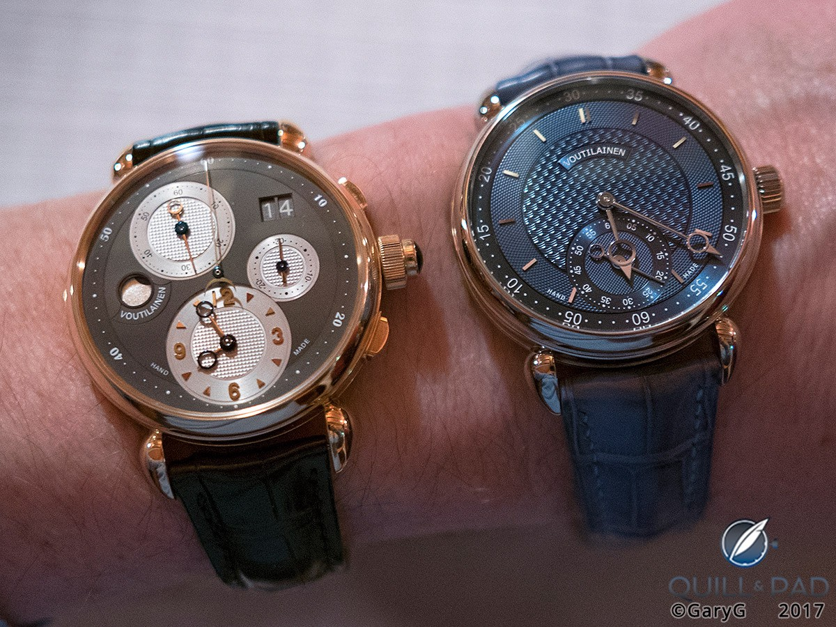 Voutilainen Vingt-8 ISO (at right) on the Author's wrist with his Voutilainen Masterpiece Chronograph II