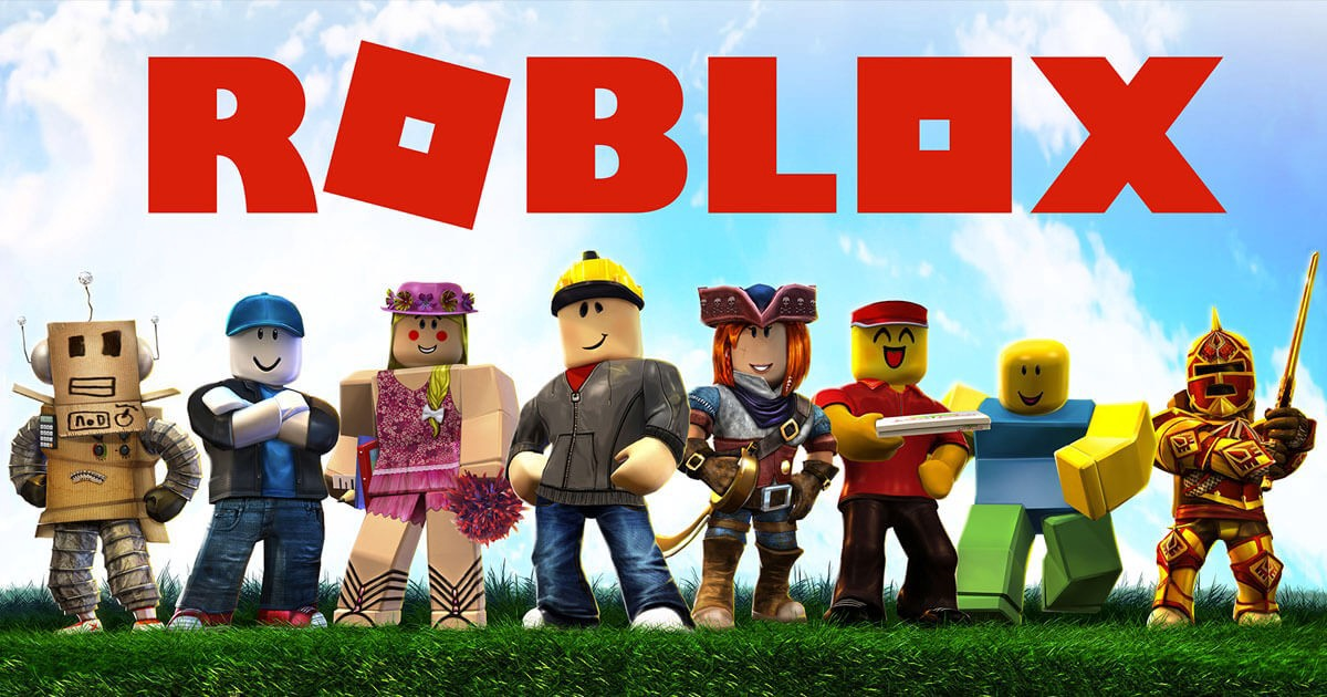 Roblox characters standing together on a grassy field