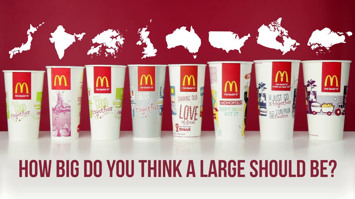 Comparison of MacDonald's cups from around the world