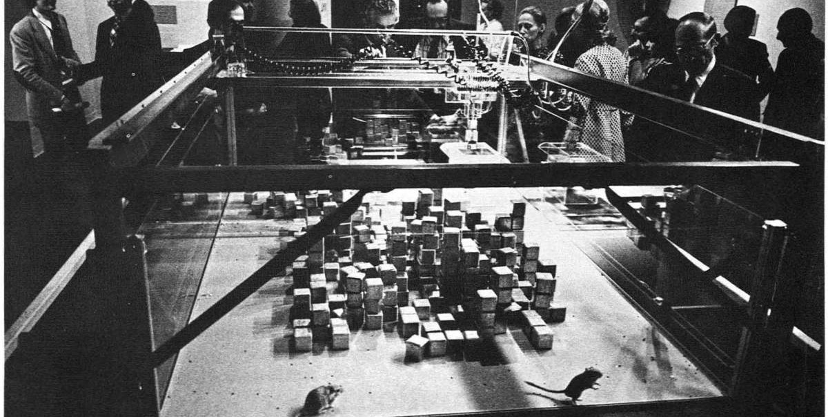 Photo of SEEK installation held at MIT in 1969 showing number of fabricated cubes that constantly reassembles by robotic arms. They are also some mouses moving in between those cubes.
