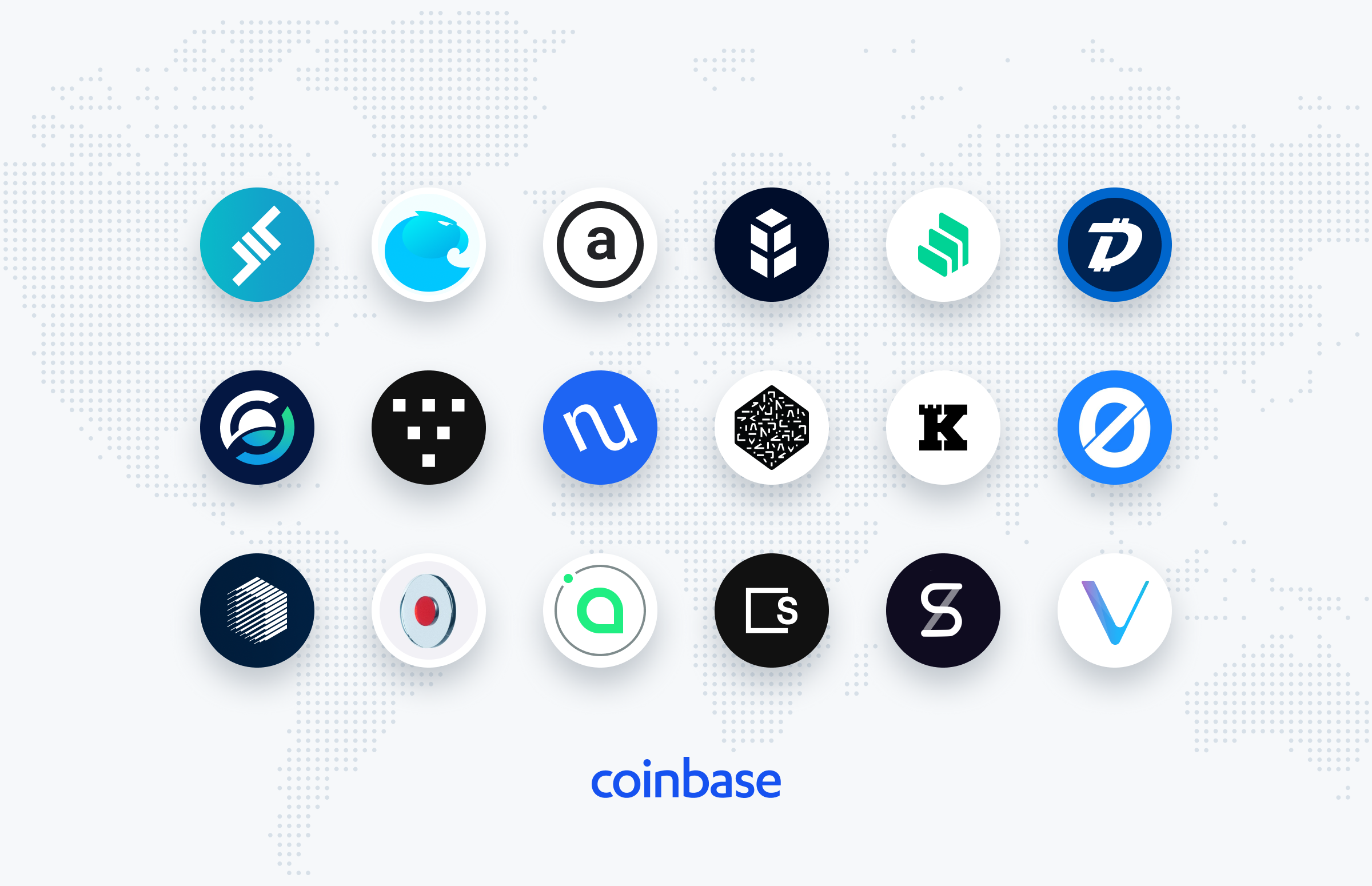 Logos of cryptocurrencies that Coinbase intends to add in the coming months (Source: Coinbase).