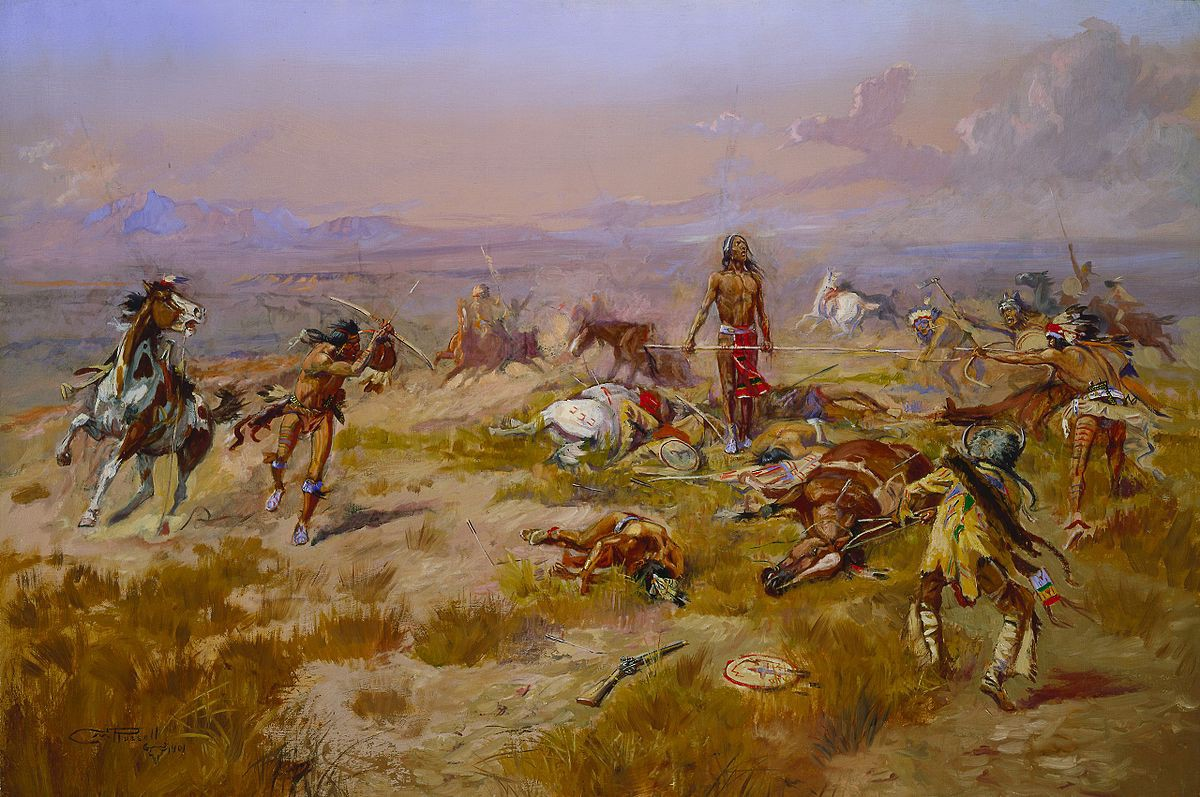 A lone native American warrior is seen standing and singing on a battlefield as his enemies close on him.
