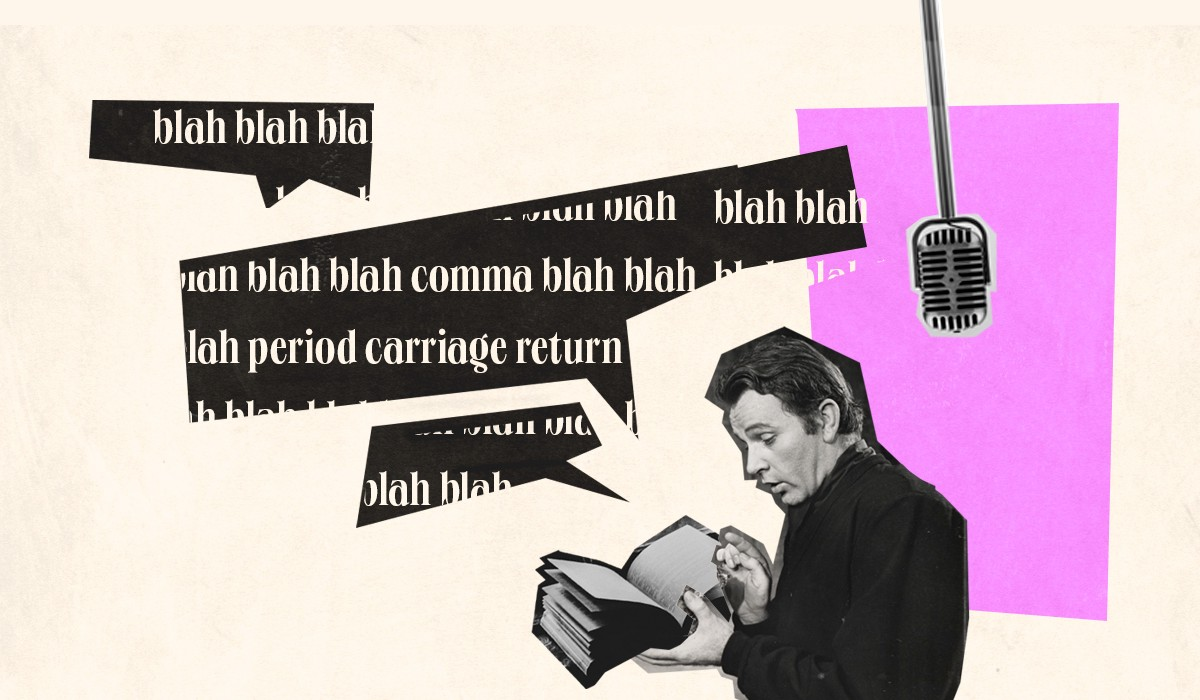 """Collage of an actor reading a book with a mic behind him and several text bubles saying """"blah blah blah"""""""