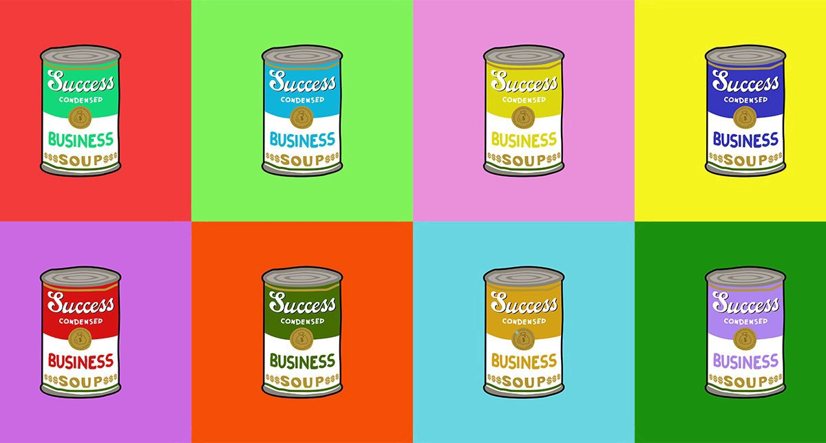 """Cans of """"Business Success"""" soup in the pop art style of Andy Warhol"""