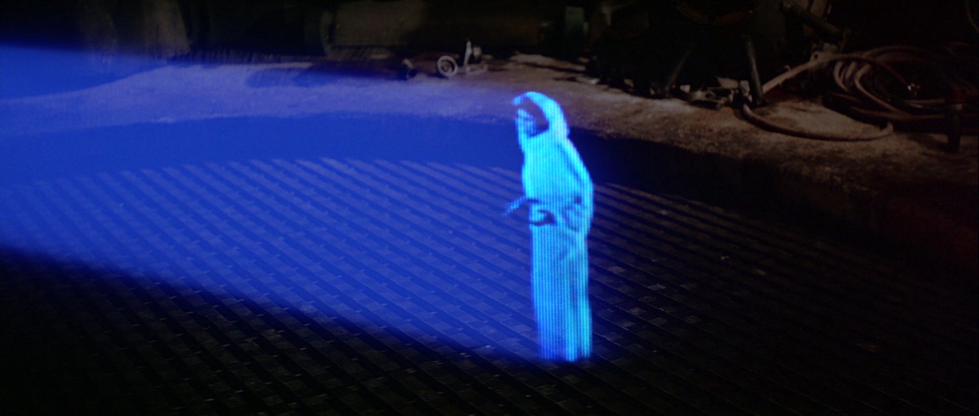 A very pixelated hologram of Leia