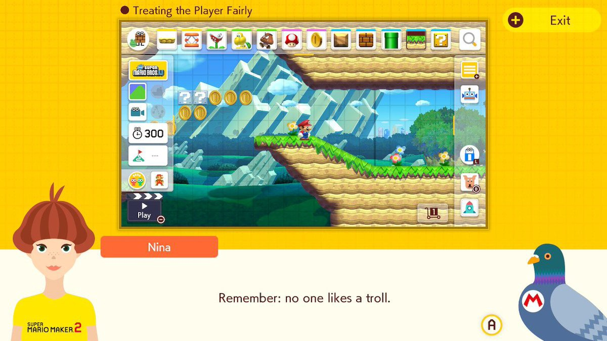 """Super Mario Maker 2 reminds the player that """"no one likes a troll"""""""