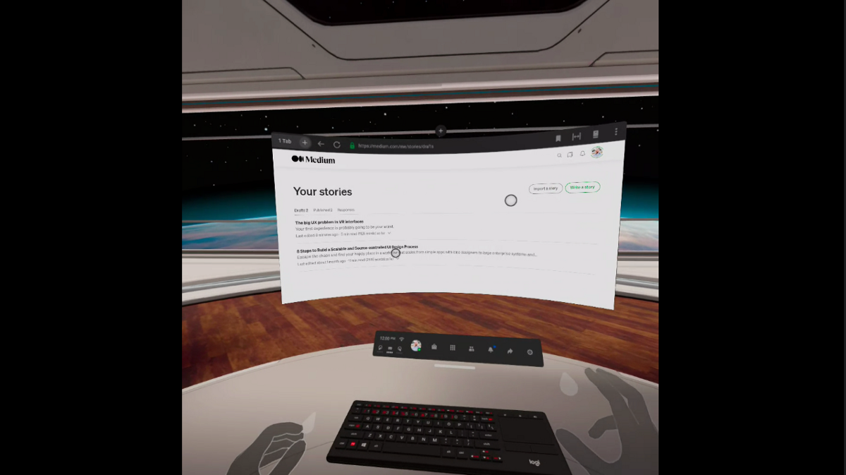 A view of my VR space showing a keyboard, the built-in Oculus browser and my hands via native tracking