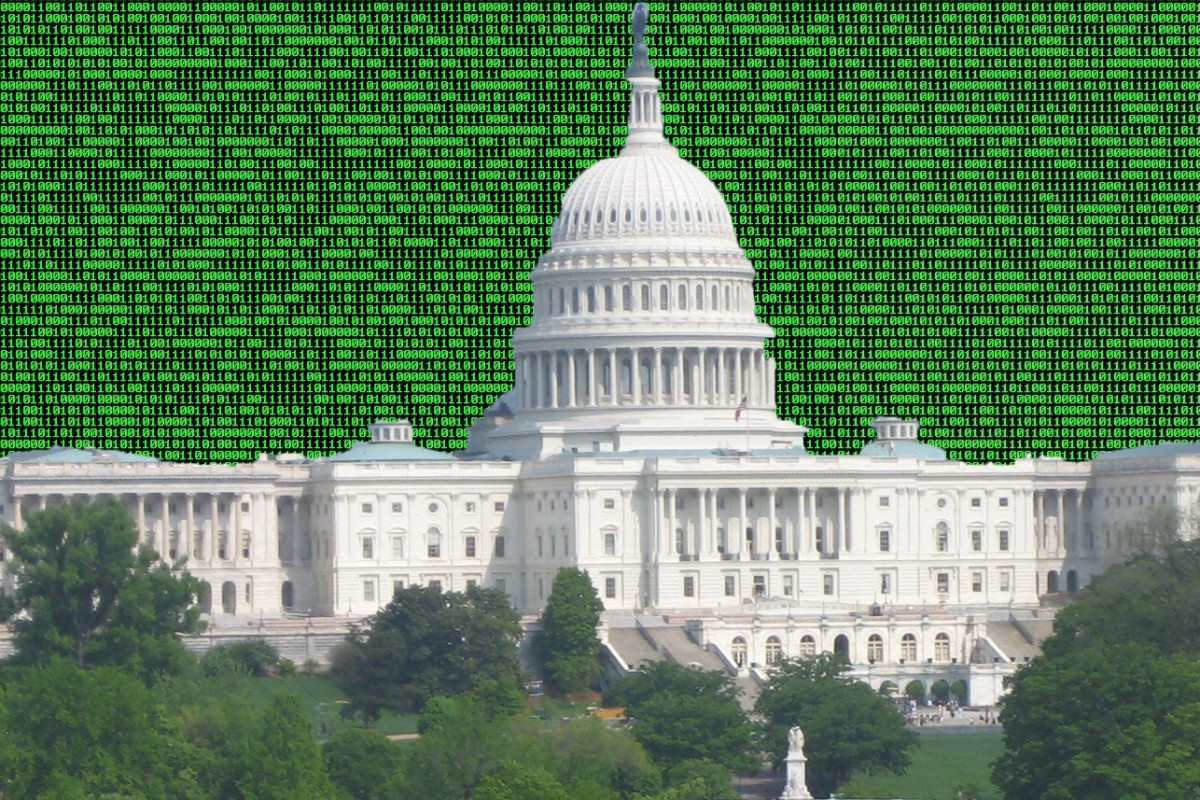The U.S. Capitol surrounded by binary code. Courtesy Wikimedia Commons