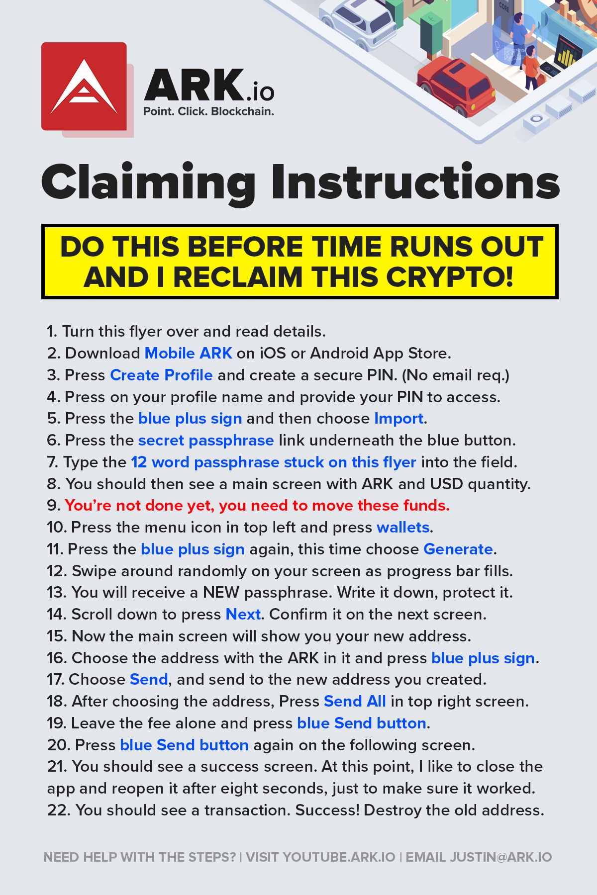 Flyer back design. No crypto is being offered to the reader of this article.