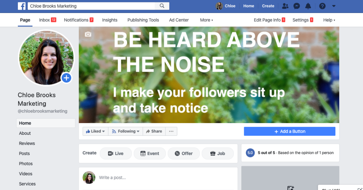 Screenshot of a Facebook Business Page