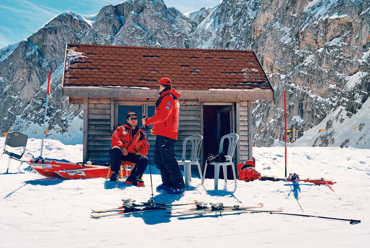 Skiers outside a small hut on Mount Parnassos