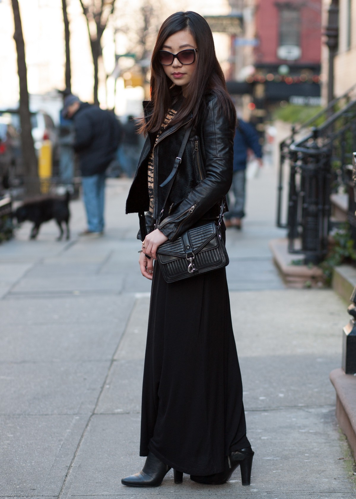 ankle boots with long skirts