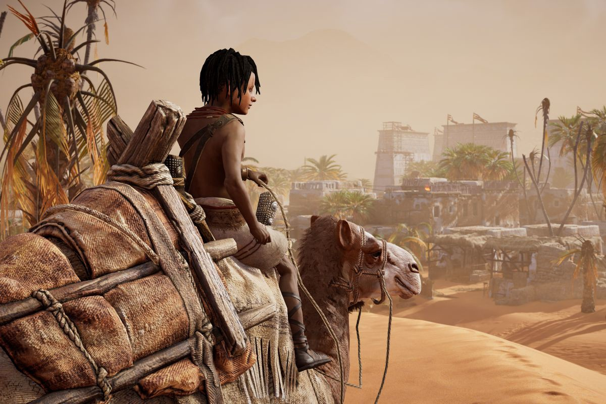 A screenshot of Discovery Tour game-play featuring a young Amazigh boy riding a camel in Egypt.