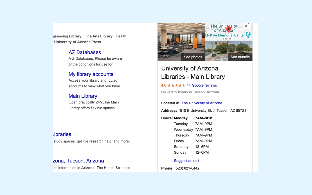 The Main Library's public hours are displayed correctly in search results