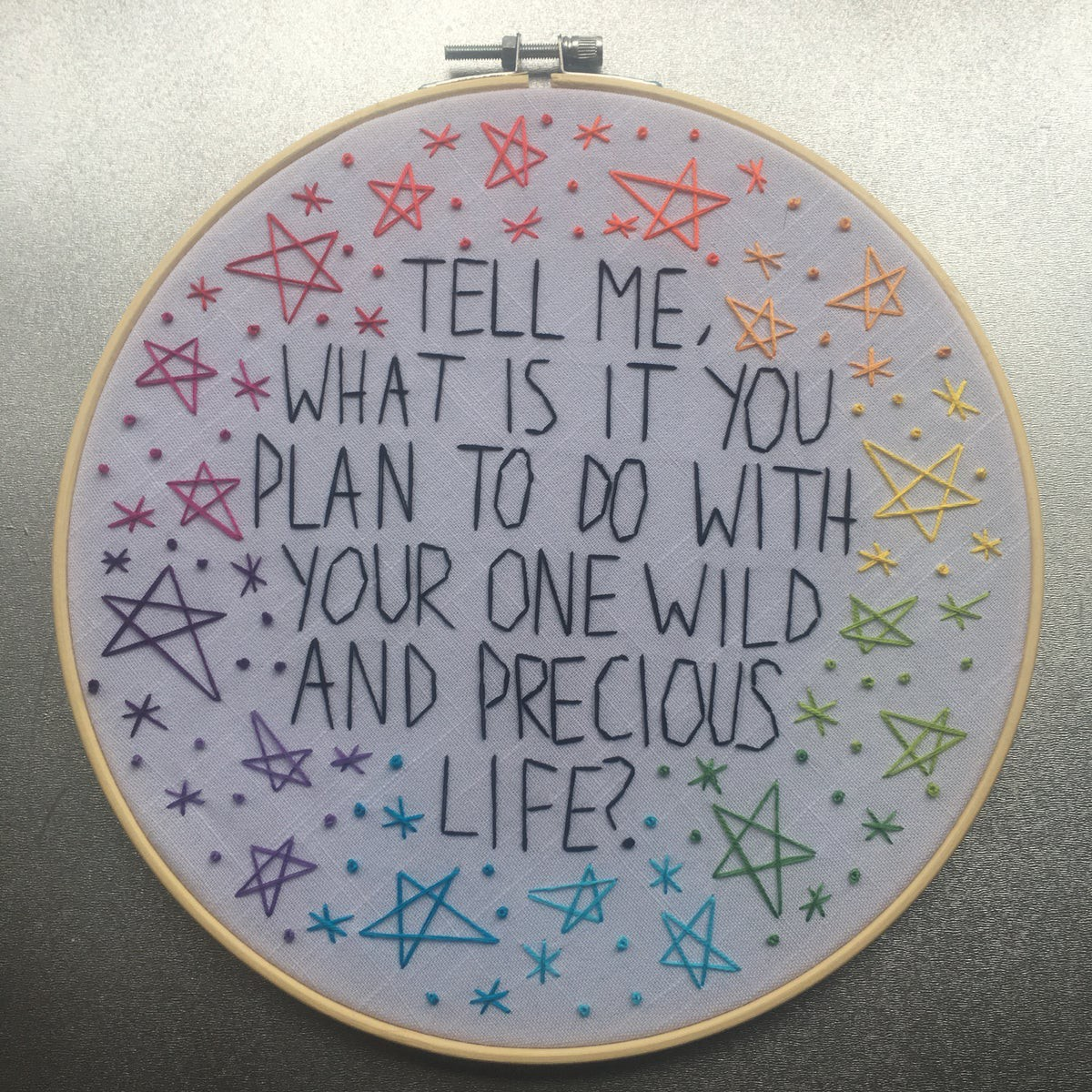 "Embroidery by Shana Hampton reads ""Tell me what is it you plan to do with your one wild and precious life?"""