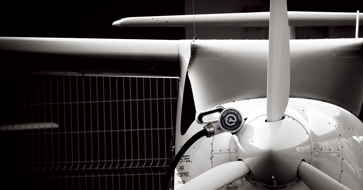 Photo of electric airplane.
