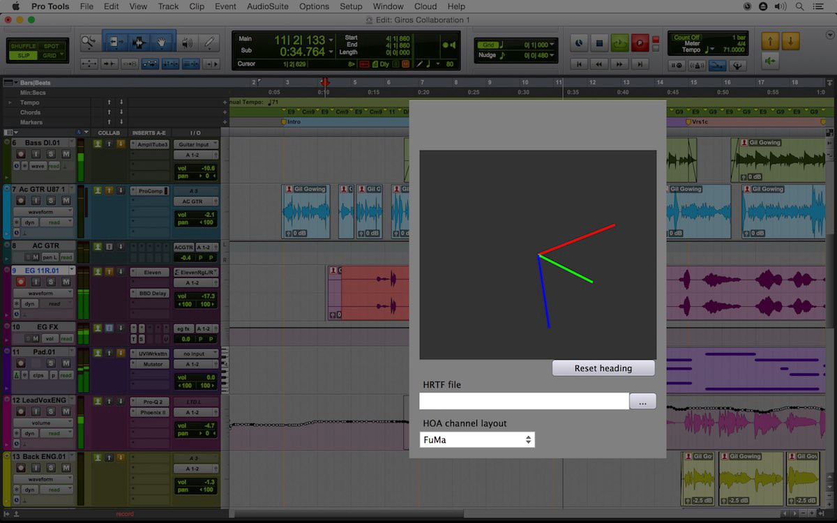Ambisonics ambisonics to binaural plug-in with real-time head tracking