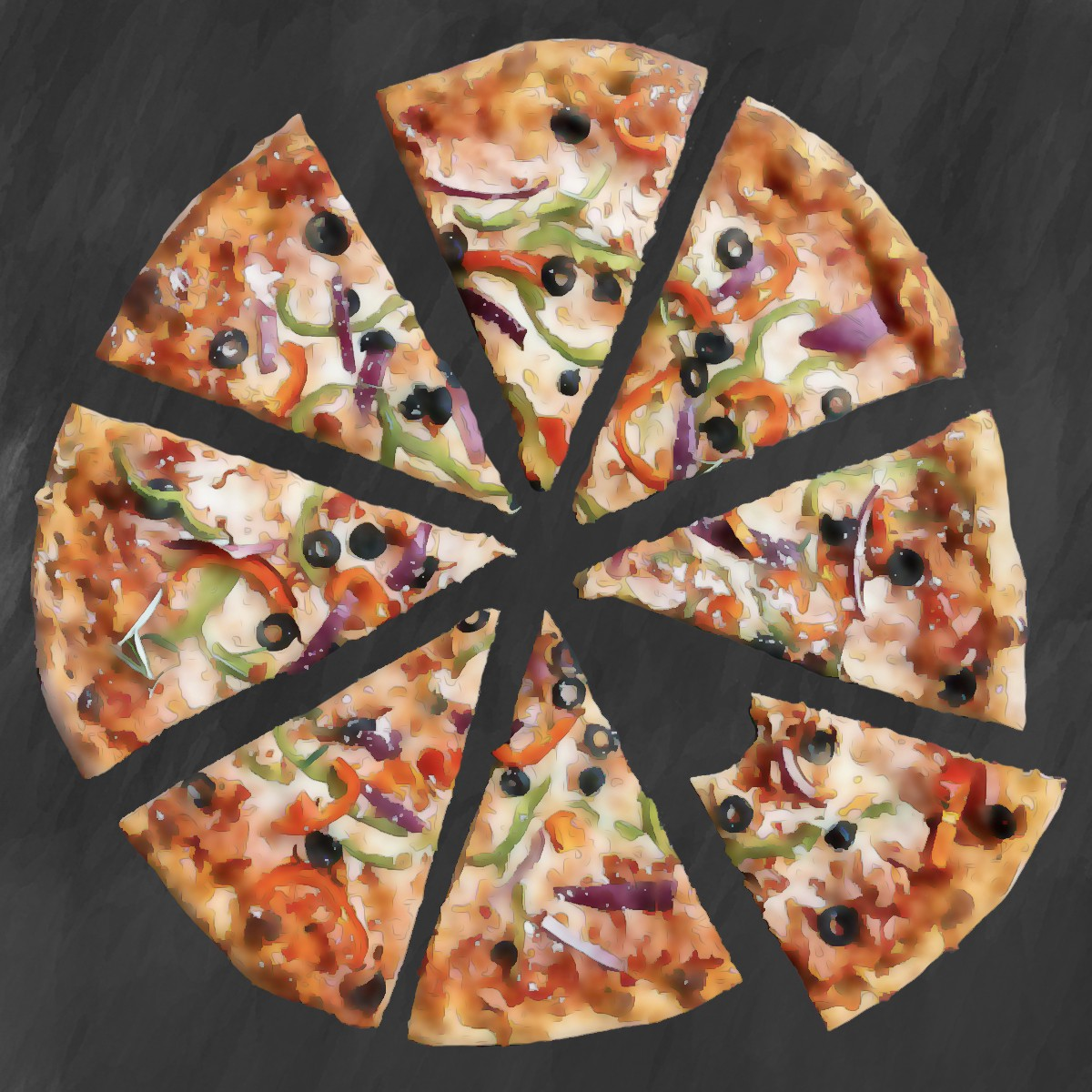 Illustration. Close your eyes for a minute and think about PIZZA. Let your mind go.