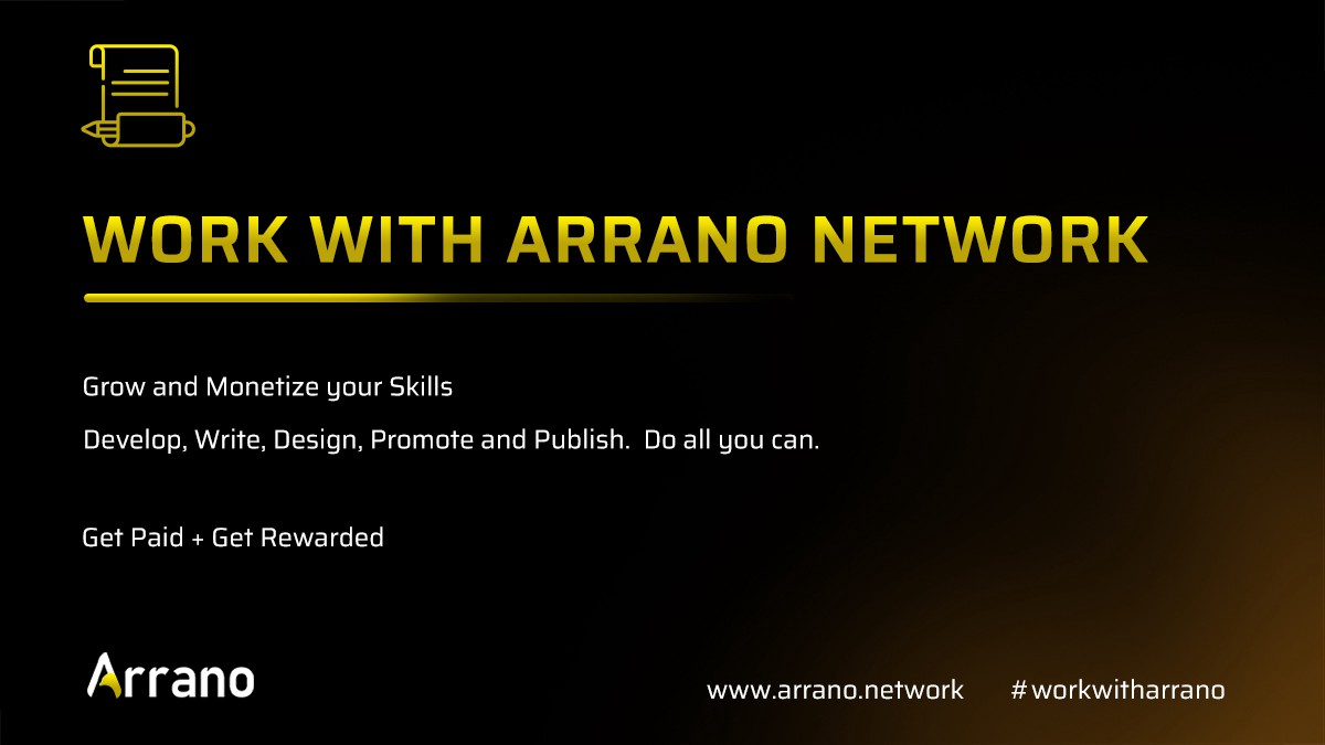 Arrano Network Invites Contributors to work with us and get rewarded. The task demands developers, content creators, and publishers and holds rewards in crypto and ANO token.