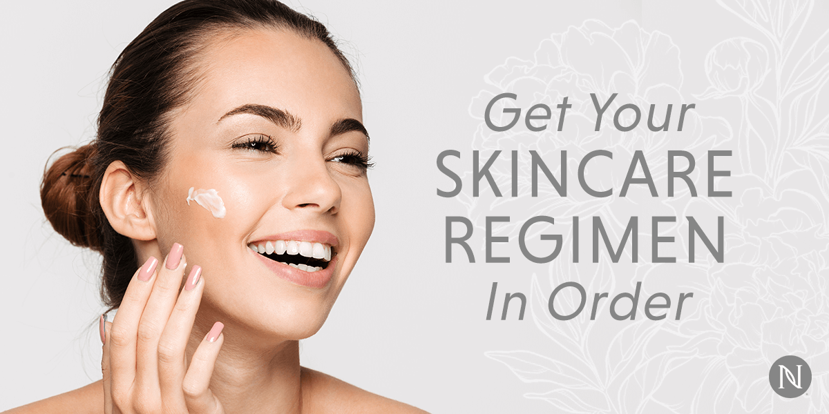 A young woman smiles while applying a Neora skincare product to her face, with text that reads, 'Get Your Skincare Regimine'
