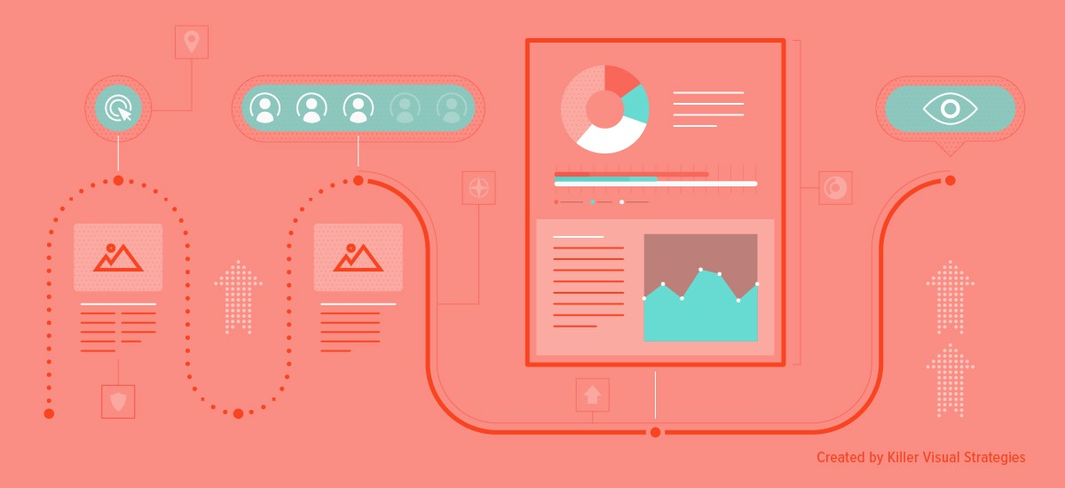 Infographic imagery with illustrations, data visualization, and more