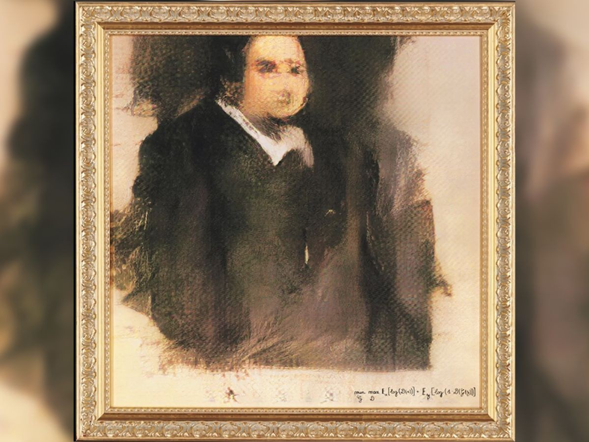 Portrait of Edmond Belamy, generated by GAN (Generative Adversarial Network)
