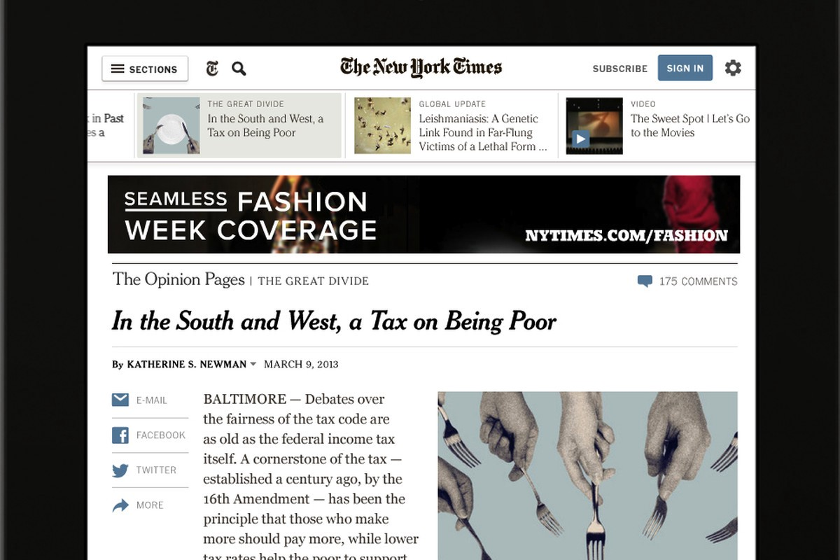 Screenshot of New York Times article