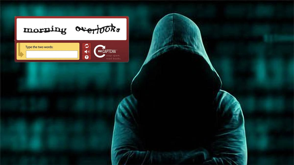 A background showing a captcha, and a person covered in a hoodie | Breaking captcha with machine learning