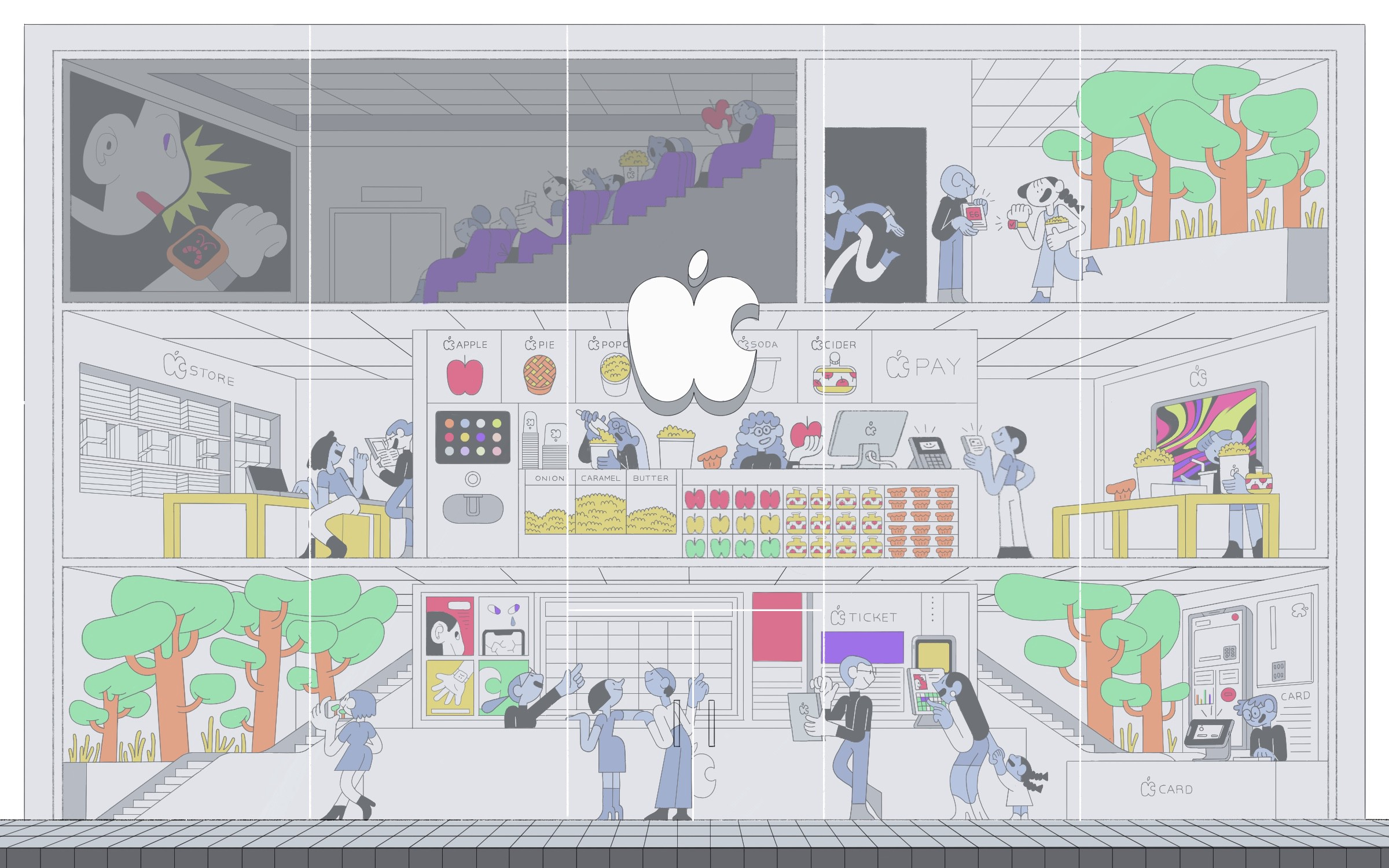 An illustration of an Apple Store with different screening rooms portraying a new movie watching experience.