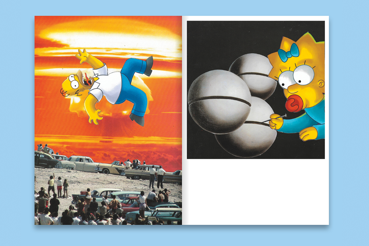 Two paintings: Homer Simpson floats over an atomic blast as people look on. Maggie draws lines on gray spheres with a nail.