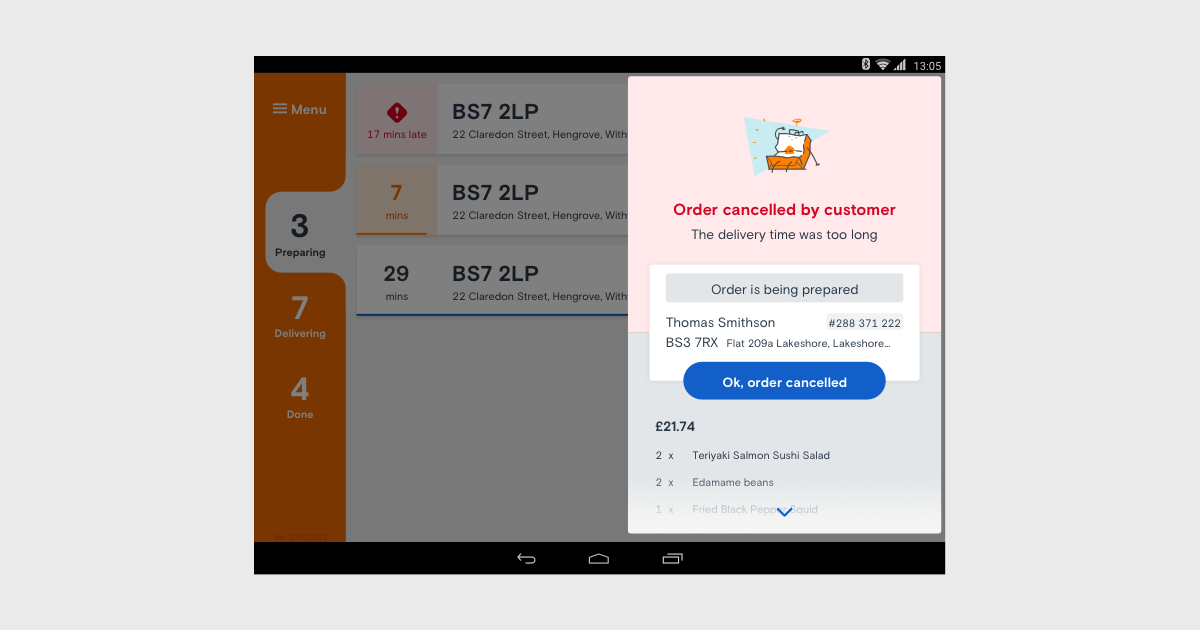 A screenshot of the Just Eat Orderpad app, showing the final design of the customer cancelled order component