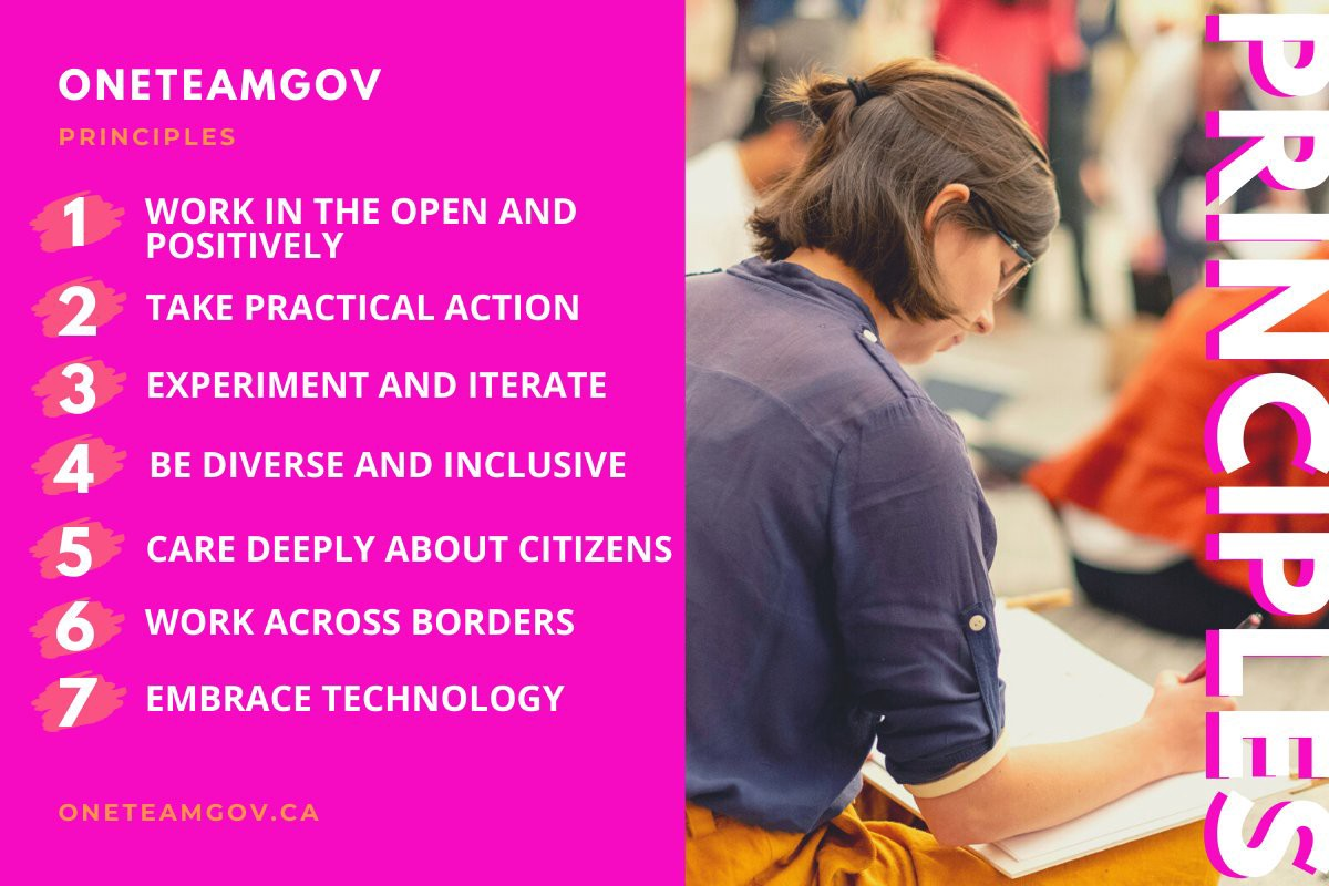 Left: 7 OneTeamGov Principles on pink background. Right: photo from June 2019 Unconference participant writing in a notebook.