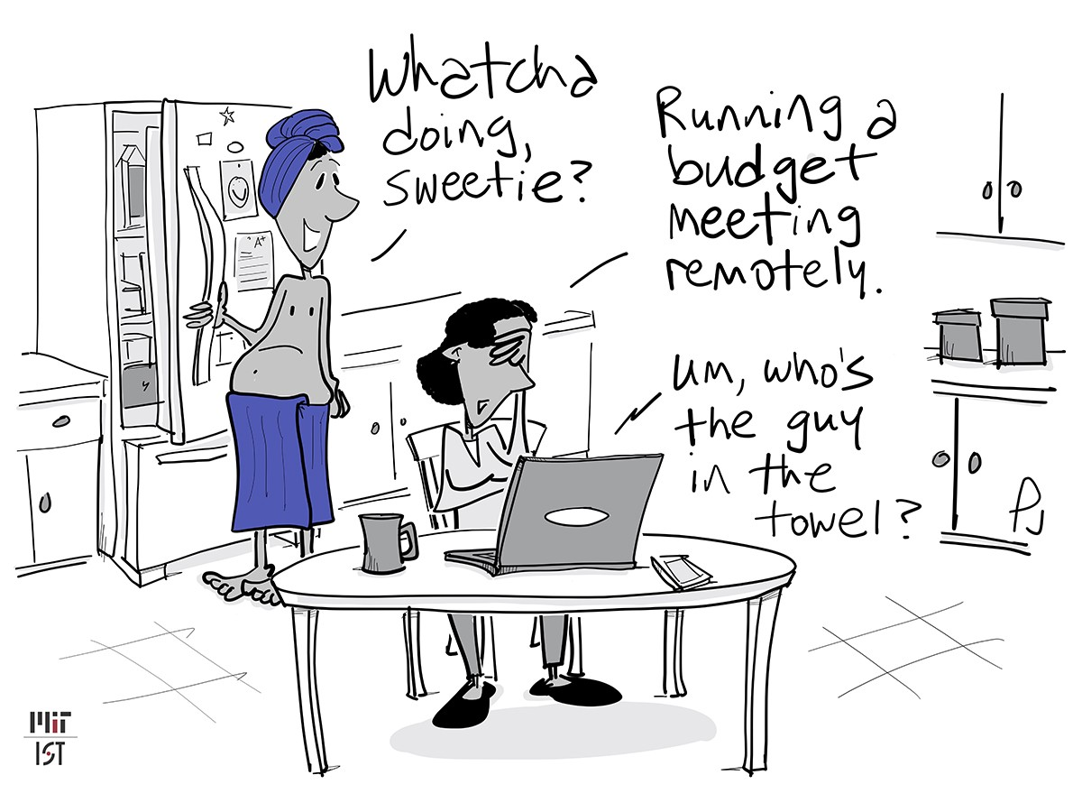 Cartoon of a topless man in a kitchen appearing on camera in his wife's remote work meeting.