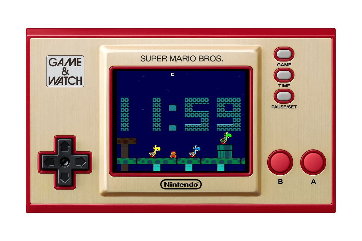 A Super Mario Bros Game and Watch featuring a screen at midnight with Yoshi