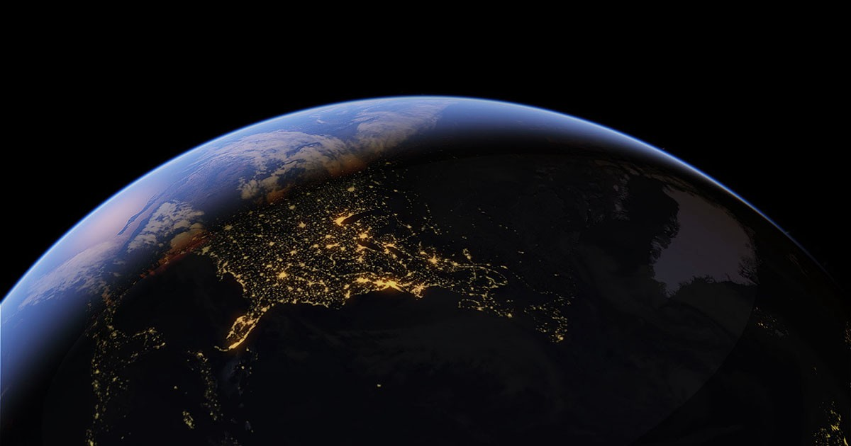 This is a photo of the Earth from space, showing the thin blue line of our atmousphere.