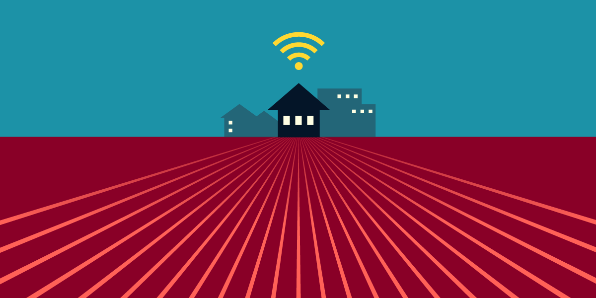 An illustration of three isolated buildings in an empty field, with fiber lines streaming towards them and a wifi icon hovering over them.
