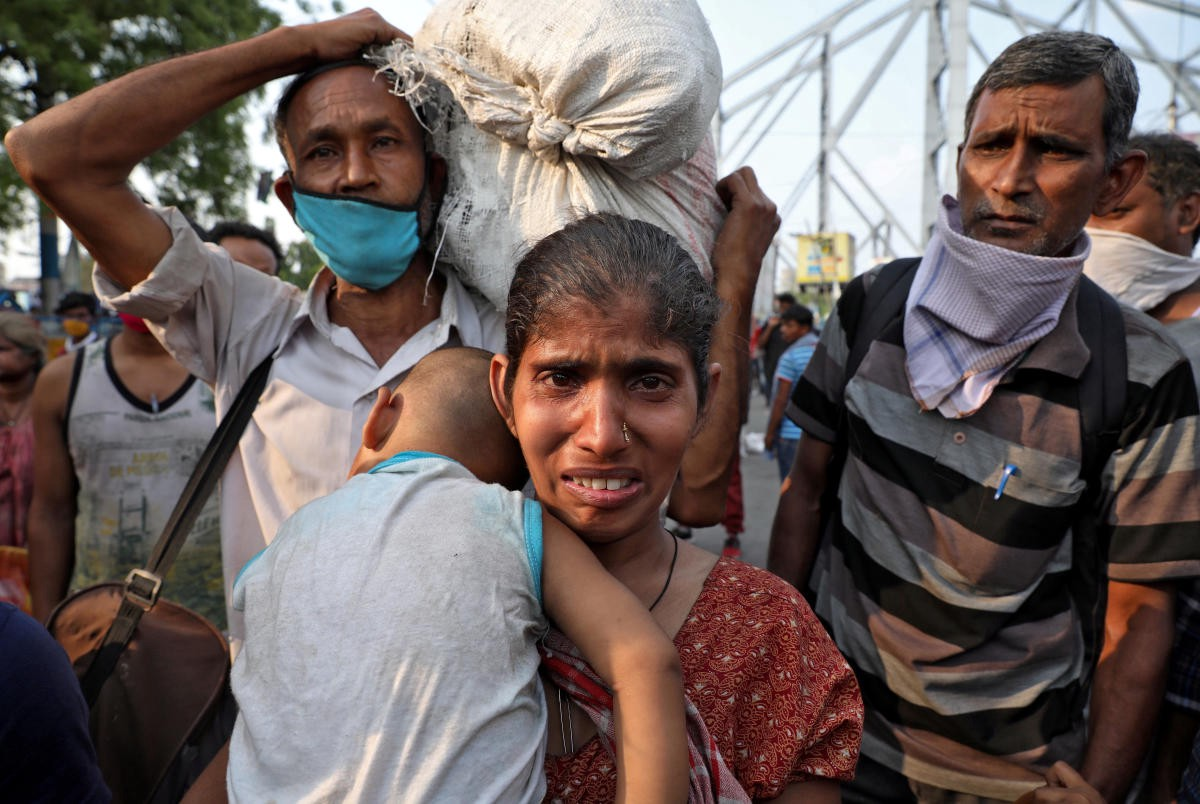 Migrant workers on the streets during the coronavirus lockdown in India