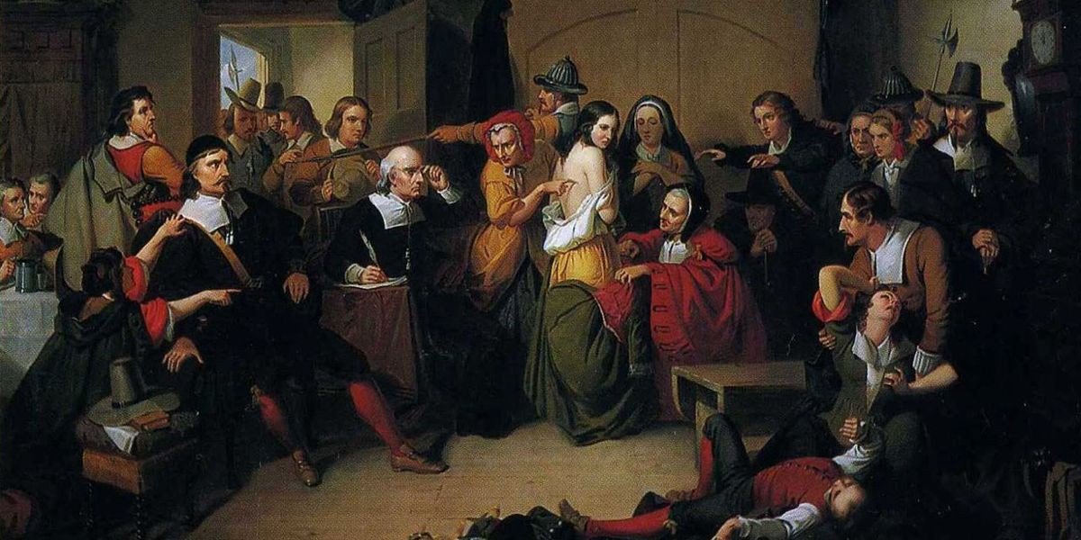 Salem witch trials: an overfilled court room features an accused woman's skin being inspection for marks of witchcraft