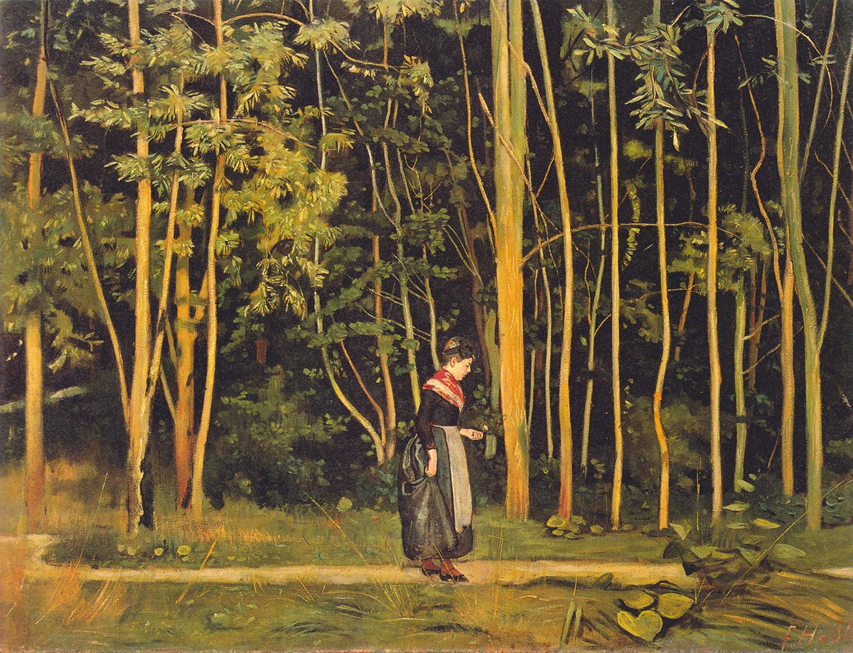 Ferdinand Hodler. Walking at the forest edge. 1885. Oil on canvas.