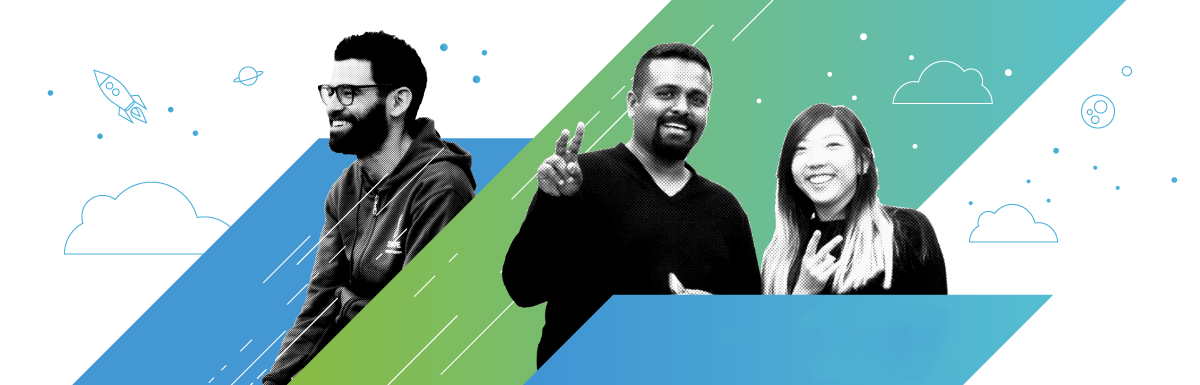 Graphic featuring three members of the VMware design team