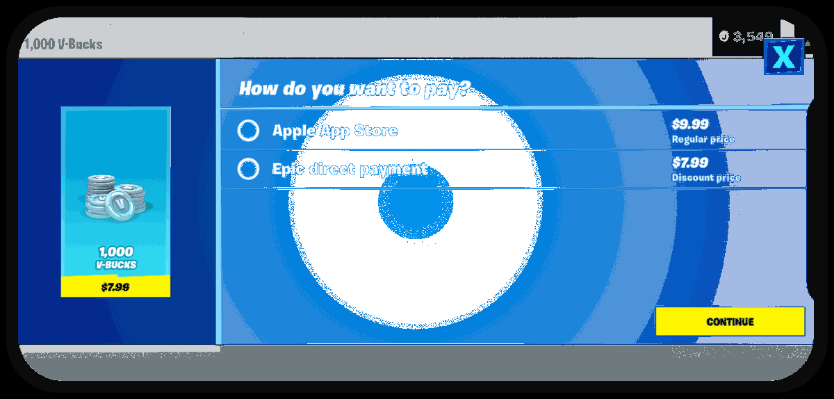 "Screenshot of the ""direct payments"" option in Fortnite that violates Apple's App Store Terms of Service"