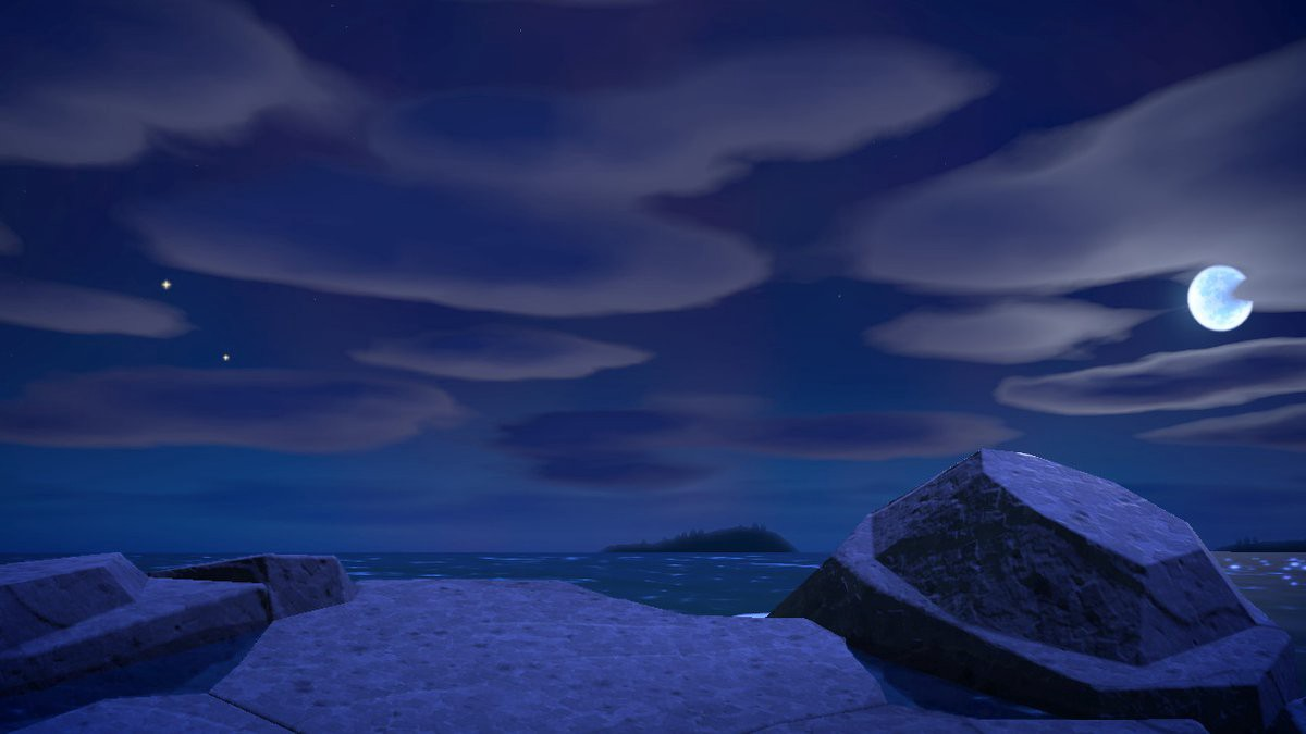 Pictured: a screenshot taken in Animal Crossing New Horizons. Night sky with clouds and moon above, rocks and ocean beneath.