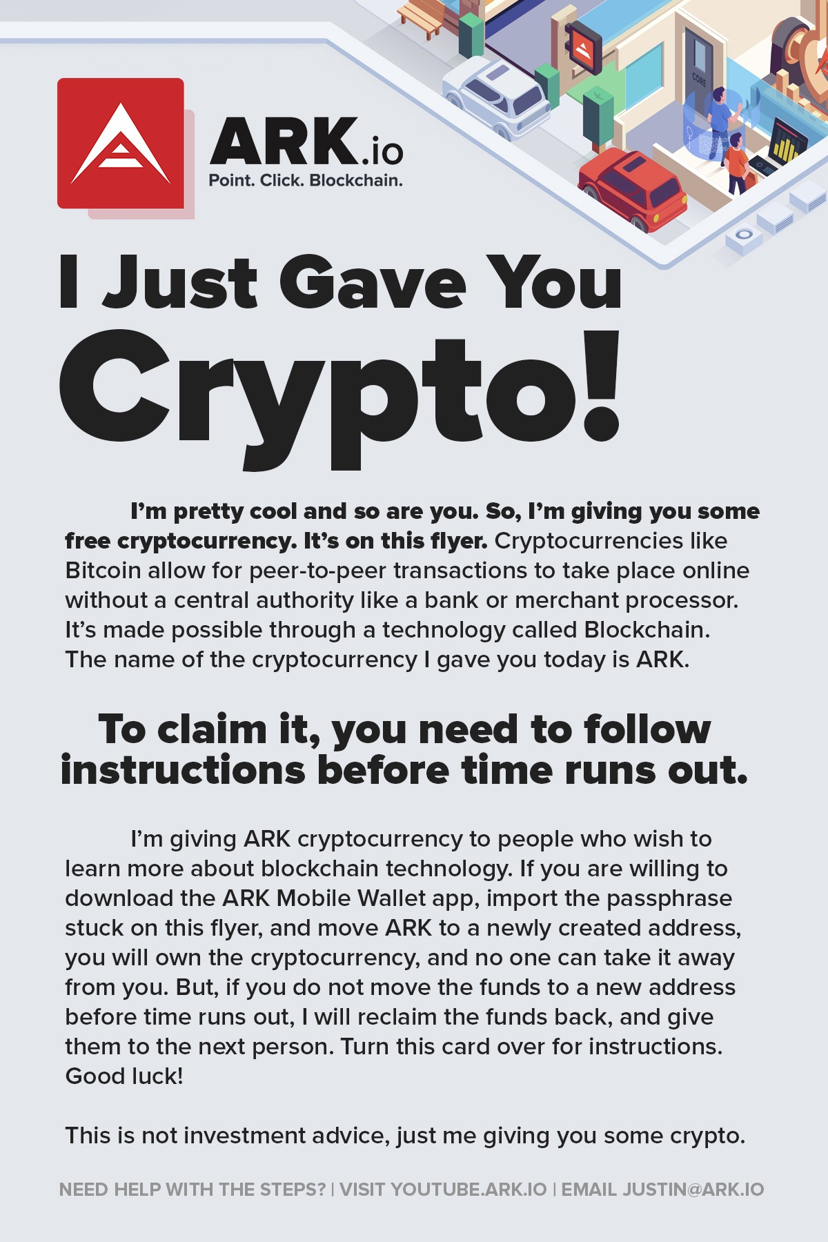 Flyer front design. No crypto is being offered to the reader of this article.