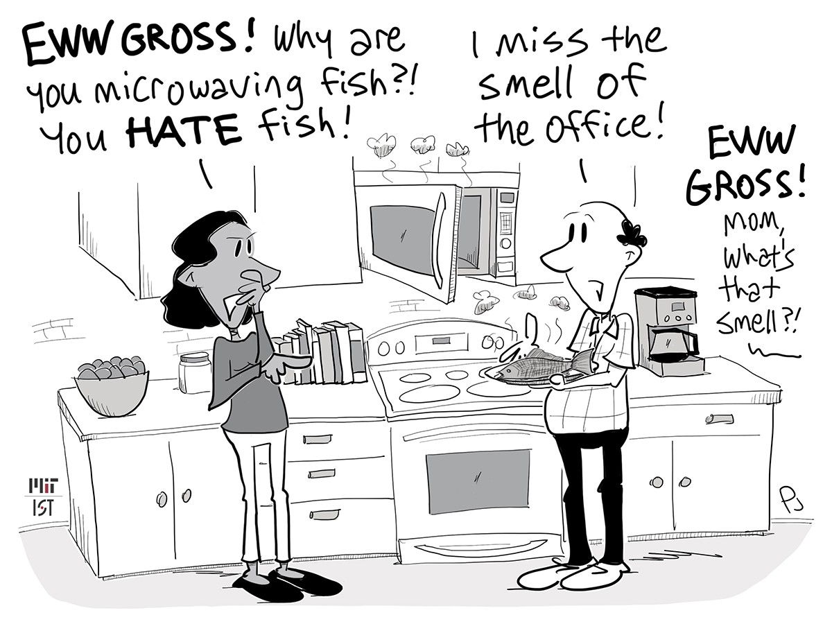 Cartoon of a man microwaving fish at home because he misses the smell of the office.