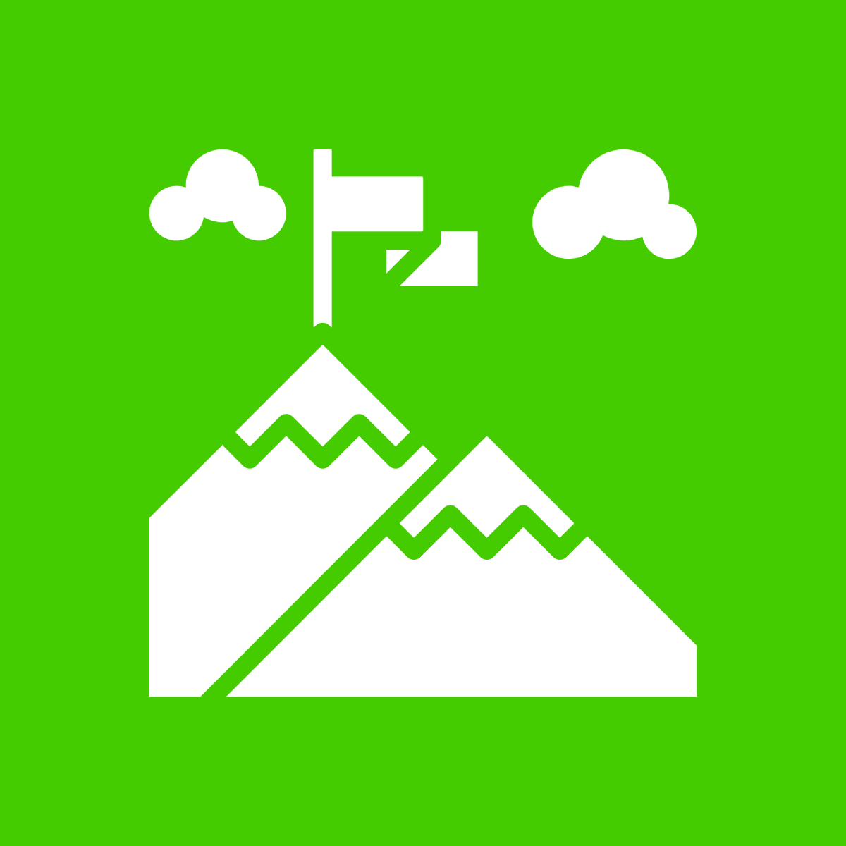 A graphic illustration of a white mountain with a flag in the top